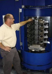 Al Chapman, Spirax Sarco Senior Manufacturing Engineer, overlooks hydraulic fixturing for multiple housings.
